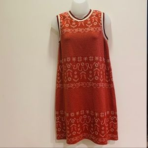 Anna Sui Birds and Snakes Red + Gold Mini Dress